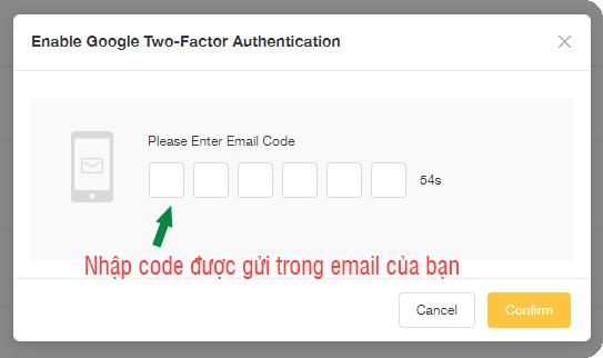 nhập code xác thực authen